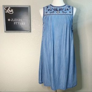 Blue Embroidered Chambray Shift Dress Small